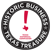 Historic Business, Texas Treasure and Texas Historical Commission logo